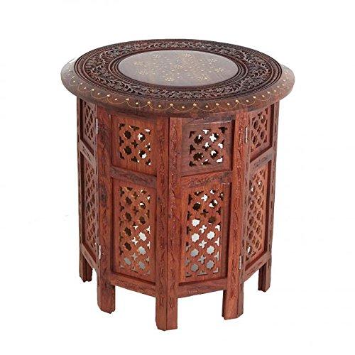 Casa moro tavolino da tè legno massello di sheesham base pieghevole nail large stile orientale indiano accento mobili fatti a mano in ottone intarsiato hms125