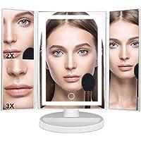Mondeer Espejo para Maquillaje Triple Plegable de Sobremesa con Luz LED Espejo con Base de Almacenamiento Amplificación de 2x/3x Rotación de 180 Grados (Blanco/ Negro) (White)