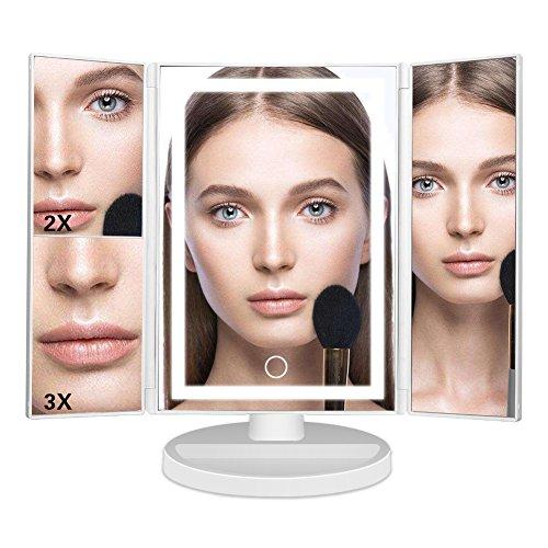 Miroir de Maquillage,Mondeer 22 LED Éclairées Miroir 1X/2X/3X Grossissement Miroirs Pliable Rotation de 180 Degrés avec Base de Rangement avec Tactile Batterie Câble USB(White)