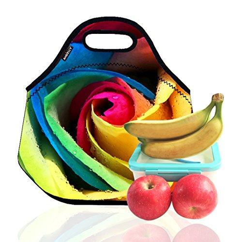 Ambielly neoprene pranzo al sacco / scatola di pranzo / Lunch Tote / picnic Borse dispositivo di raffreddamento isolato dell'organizzatore di corsa (1,Colorful Rose)