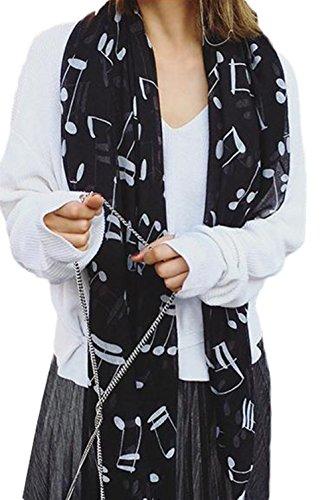 Lumanuby 1 Stück Damen Schal Polyester Material Scarf Moderne Musik Note Muster Design Stola Größe 180*100cm Mode Kleidung Zubehör Geeignet für Alle Jahreszeiten, Schwarz Farbe