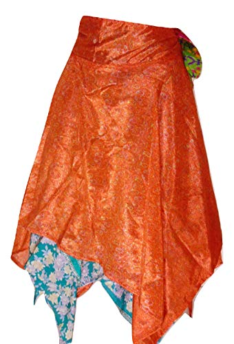 Dancers World Ltd (UK Seller) Falda Envolvente reversa con Corte de Diamante en Estilo Indio Falda mágica Falda Cruzada de Seda Sari/Top/Vestido - 30 Pulgadas de caída (D93)