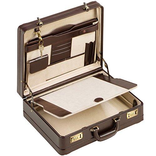 Aktenkoffer Echt Leder braun dunkelbraun XL Attache Attachekoffer mit Doppel-Dehnfalte …