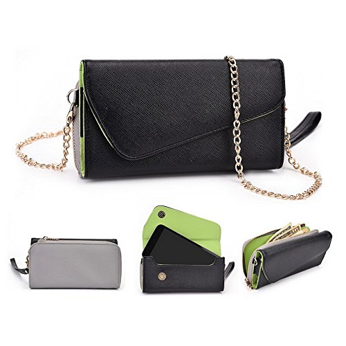 Kroo d'embrayage portefeuille avec dragonne et sangle bandoulière pour Nokia Lumia 635 Noir/gris Noir/gris
