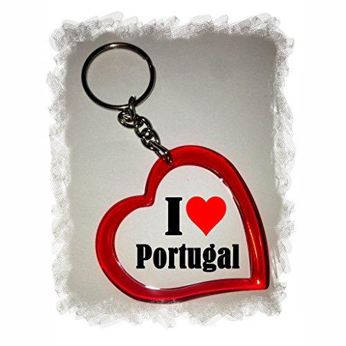 Druckerlebnis24 Herzschlüsselanhänger I Love Portugal, eine tolle Geschenkidee die von Herzen kommt| Geschenktipp: Weihnachten Jahrestag Geburtstag Lieblingsmensch