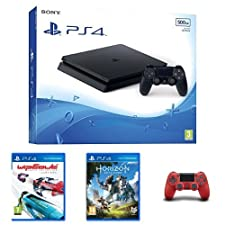 Sony PlayStation 4 (500GB)+ Wipeout + Horizon Zero Dawn + 2nd Red DualShock 4 Controller