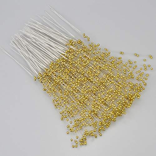 Spray Gold Trim (100 Stück 4 mm Braut Hochzeit Perlen Bouquet Party ABS Perlen String Perlen Stäbchen Deko Weihnachten Party DIY Home Party Hochzeit Tischdekoration gold)