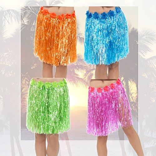 Bastrock Karibik Hawaii-Rock orange Baströckchen Südsee Hula Outfit Hawaiianerin Kostüm Zubehör Strandparty (Kostüme Hula Tänzerin)