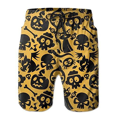 Halloween Katze Schädel Candy Bone Spider Modische Herren Strand Shorts Board Badehose XXL