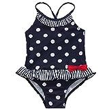 iEFiEL Maillots de bain Une Pièce à Pois Jointive Petite Noeud à taille Enfant Filles Bikini A Bretelle 2-7 Ans