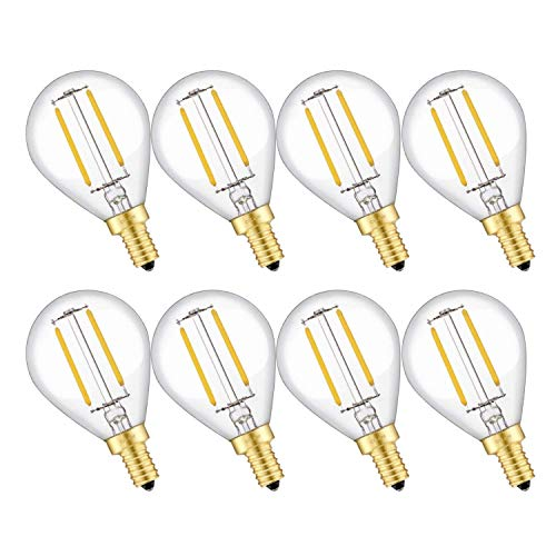 5 Light 25 Kronleuchter (CRLight 2W dimmbare LED-Kugel-Birnen-E12 Kerzenleuchter Basis G14 Antique Globe Birnen 2700K / 3500K / 4000K 8er (2700K))