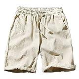 Zolimx- Bekleidung Herren leinenshorts Kurze Leinenhose Bermuda in leinen-Optik aus 100% Baumwolle Regular fit Herren Chino Shorts Bermuda Kurze Hose mit gürtel