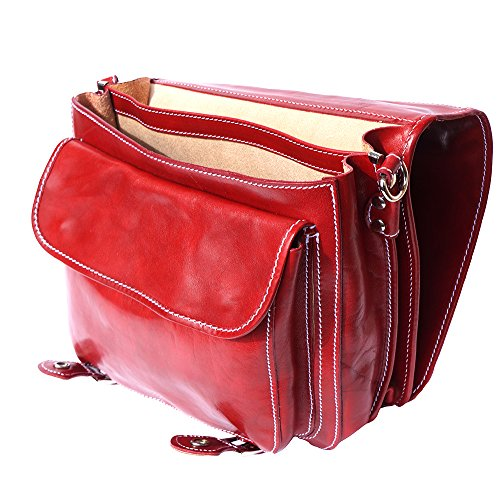 Leder Aktentasche mit 2 Fächern 7608 Rot