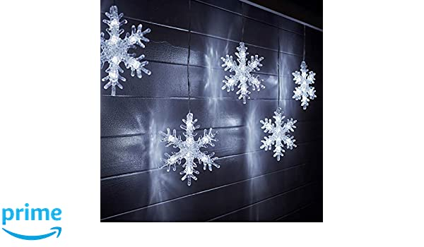 Lights4fun Outdoor LED Christmas Snowflake Star Icicle Curtain Lights Decoration Plug In 2m