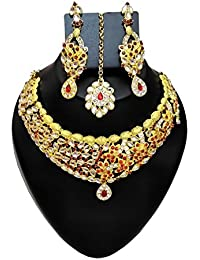 DeAaaStyle Gold Plated Necklace For Women With Earrings And Mang Tikka Red Stone
