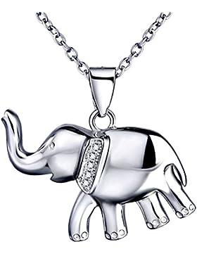 Sojewe Damen 925er Sterling Silber Elefant Halskette Inlay Zirkonia Anhänger Weiß Vergoldet Ketten
