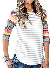 8260eaa3a972 HhGold Frauen Rundhalsausschnitt Colorblock Gestreiftes 3 4-Arm Raglan  Casual T-Shirt