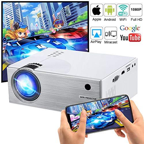 WiFi Beamer 2600 Lumen, DIWUER Mini WiFi Projektor, Video Heimkino Beamer unterstützt Airplay Miracast DLNA und 1080P HD, Kompatibel mit HDMI VGA USB AV SD