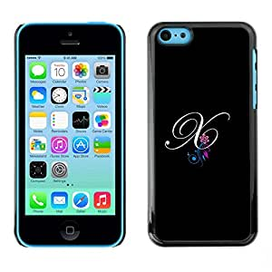 Omega Snap on Hard Back Case Cover Shell FOR Apple iPhone 5C - Black Initials Letter Calligraphy Text