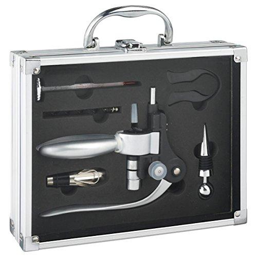 Professioneller Sommelier-Koffer – 6 Utensilien in einem Alu-Köfferchen: profesioneller Korkenzieher aus rostfreiem Stahl, Einschenk-Aufsatz, Wein-Thermometer, Korken, Kapselschneider, etc.
