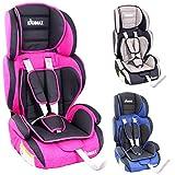 KIDIMAX Autokindersitz Kindersitz Kinderautositz, Sitzschale, universal, zugelassen nach ECE R44/04, in 3, 9 kg - 36 kg 1-12 Jahre, Gruppe 1/2 / 3 (Pink)
