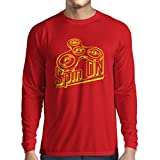 lepni.me T-Shirt Manches Longues Homme Spin on - pour Qui Aime Jouer au Fidget Spinner Jouet Amusant (Large Rouge Multicolore)