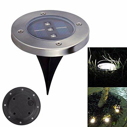 Spot Solar-outdoor-lampen (luniquz Solar-Lampe mit 3LEDs, am Boden zu befestigen, kabellose Solar-LED-Strahler Wasserdicht Spot zum eingraben in Erde, für Eingang, Diele, Patio, Balkon, Gärten, Parks Lumière Blanc)