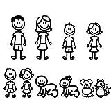 Heaviesk Forniture Decorative per Decalcomanie per carrozzeria paraurti per Autoadesivo del Fumetto per Autoadesivo Divertente Riflettente per la Famiglia di Membri della Famiglia Kawaii
