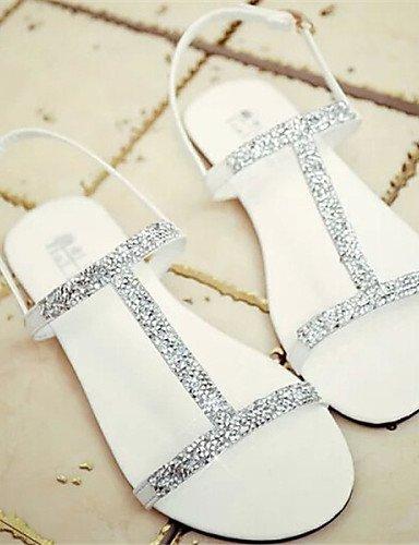 LFNLYX Scarpe Donna - Sandali - Formale - Aperta - Piatto - Finta pelle - Nero / Bianco White