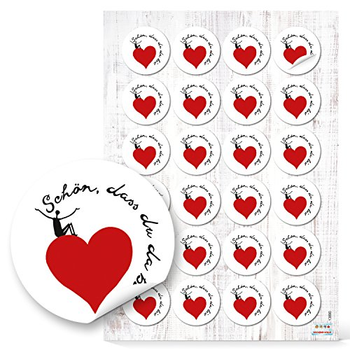 Lot de 48 autocollants ronds en forme de cœur avec inscription en allemand « Schön Dass DU DA BIST » Noir/blanc/rouge 4 cm