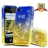 Atump Coque iPhone 4, Coque iPhone 4S avec Protecteur d'écran, Diamant Liquide Paillette Transparente 3D Silicone Gel Antichoc Kawaii Étui Fille Personnalisé pour iPhone 4 / 4S Blue/Yellow