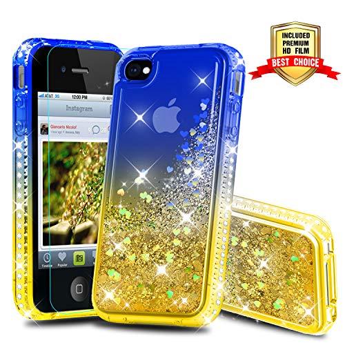 Glitzer Handyhülle mit HD Folie Schutzfolie, Schutzfolie Cover TPU Bumper Silikon Flüssigkeit Treibsand Schutzhülle für iPhone 4 / 4S Handy Hüllen Blue/Yellow ()