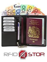Portefeuille Organisateur Pochette de Voyage RFID / NFC des cartes de crédit et du biométrique passeport (Noir) KUK-48BL