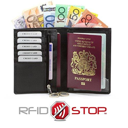 RFID BLOCCO KORUMA portafoglio di viaggio CARTE DI PASSAPORTO SENZA CONTATTO CASH detentore di moneta (KUK-48BL)