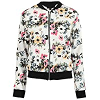 45f27f5d2a68 Missi London Ladies Celeb Inspired Lightweight Casual Summer Floral Bomber  Zipped Jacket