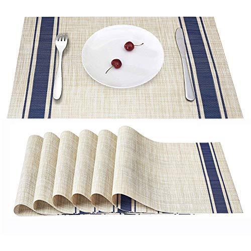 Eageroo set di 6 tovagliette americana 30 x 45 cm tovagliette lavabili tovaglietta antiscivolo per il tavolo da pranzo, blu