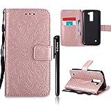 LG K8 2016 Version Hülle Leder,LG K8 2016 Flip Case,BtDuck Blume Tasche mit Magnetverschluss, Kartenfach Stand Cover für LG K8 Wallet - Rose Gold