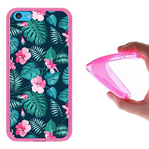 iPhone 5C Hülle, WoowCase Handyhülle Silikon für [ iPhone 5C ] Hund Fußabdruck Handytasche Handy Cover Case Schutzhülle Flexible TPU - Transparent Housse Gel iPhone 5C Rosa D0310