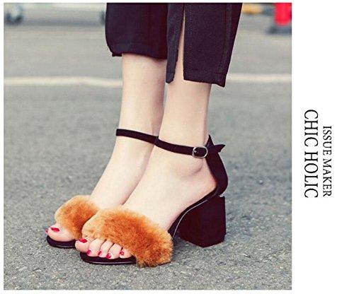 Frauen Open Toe Knöchelriemen Pump Wolle High-Heel Sandalen Römische Schuhe Größe 32-43 Black