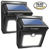 28 LEDs Solarleuchten für Aussen, Neloodony Superhelle Solar Gartenleuchten mit Bewegungsmelder Außen, Solarlampe für Wände, Auffahrt Innenhof,Hof,Flur,Veranda-2 Pack
