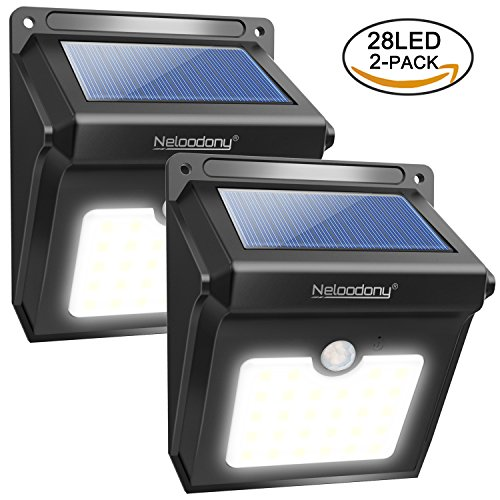 Solar Lights, Neloodony Solar Motion Sensor Security Lights 28 LED Waterproof Solar Powered Light Outdoor Lights for Garden, Fence, Patio, Yard, Walkway, Driveway, Stairs, Outside Wall etc. (2 pack black)
