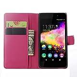 Tasche für Wiko Rainbow Up Hülle, Ycloud PU Ledertasche Flip Cover Wallet Case Handyhülle mit Stand Function Credit Card Slots Bookstyle Purse Design Rose Red