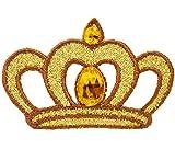 alles-meine.de GmbH 1 Stück _ Bügelbild -  Goldene Krone mit Glitzer Stein  - 5,5 cm * 3,6 cm - ..