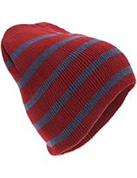 Mens Striped Knitted Beanie Hat
