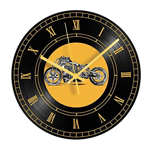 HHKLSF Orologio da Moto d'Epoca Record Orologio da Parete in Vinile Decorativo da Parete Numeri Romani per Arredamento Soggiorno