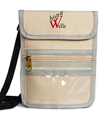 Wellsbond Reise-Geldbörse mit RFID-Schutz, Jungen, Beige-1, 12 Pockets - Hals Rfid-reise-geldbörse