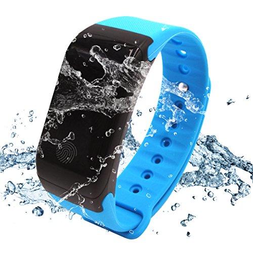 WinBridge A77Smart Watch Impermeabile IP67fitness tracker con cardiofrequenzimetro braccialetto di sport Compatibile con Android e iOS per escursionismo outdoor sports Palestra, Blue