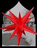Weihnachtsstern Adventsstern Außenstern Faltstern 65 cm inkl. 4 m Kabel und LED Energiesparlampe Outdoorstern (Rot)