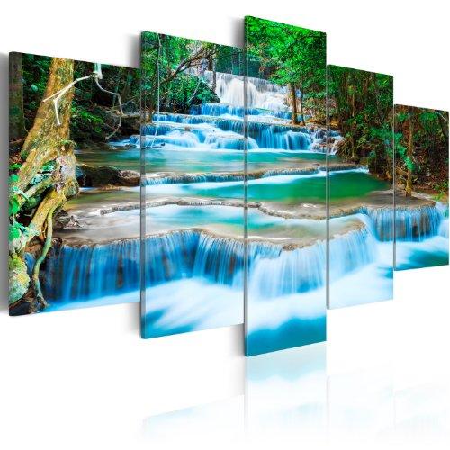 murando - Acrylglasbild Landschaft 200x100 cm - 5 Teilig - Bilder Wandbild - modern - Decoration - Natur Wasserfall Thailand Baum Wald b-B-0080-k-m