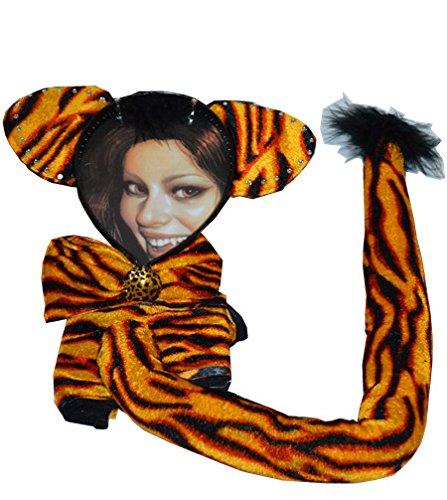 Kit da tigre con orecchie, farfallina e coda da 42 cm